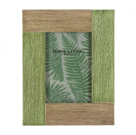 "Amazonian Dual Colour Green Wooden Photo Frame 4"" X 6"""
